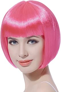 Pink Short Bob Cosplay Flapper Wig-Straight Synthetic Costume Women's Natural Looking Halloween Party Christmas Bangs Wigs