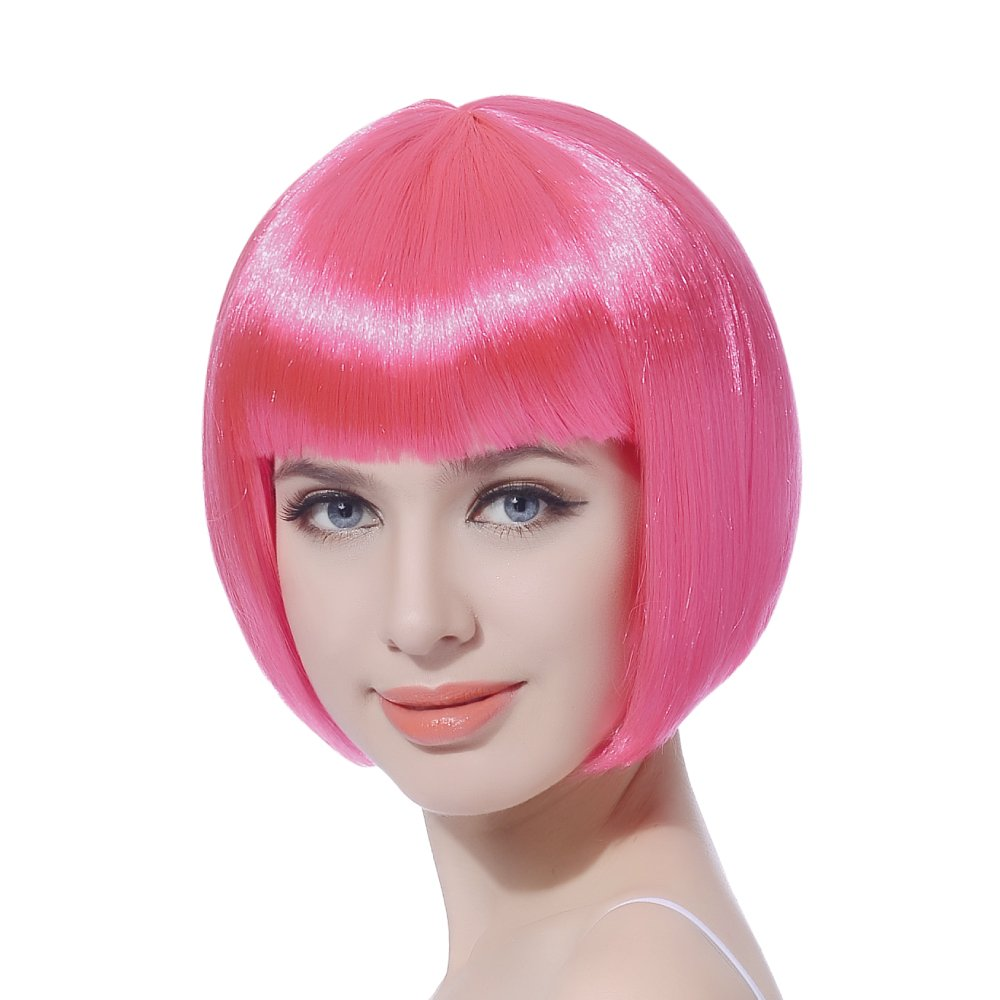 Pink Short Bob Cosplay Flapper Columbus Mall Na Free shipping Wig-Straight Synthetic Women's