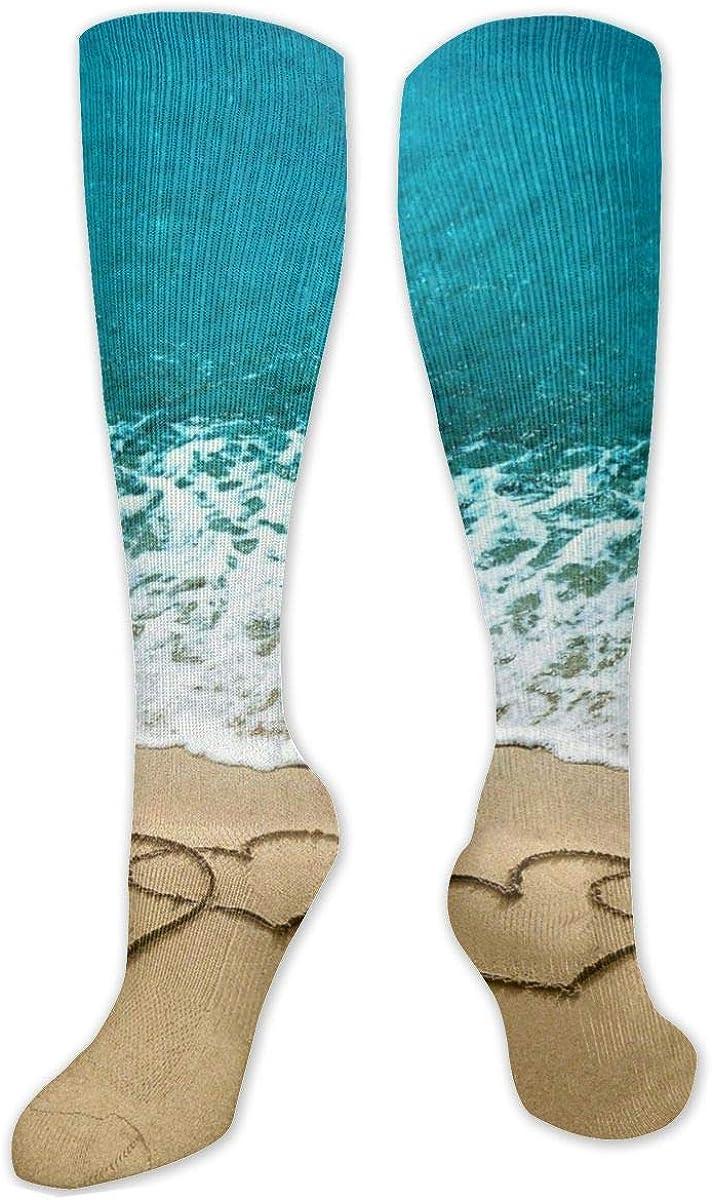Double Heart Beach Knee High Socks Leg Warmer Dresses Long Boot Stockings For Womens Cosplay Daily Wear