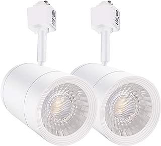 LEONLITE 2-Pack 17.5W (85W Eqv.) Integrated CRI90+ LED White Track Light Head, Dimmable 38° Spotlight Track Light, 1200lm Energy Star & ETL Listed for Wall Art Exhibition Lighting, 3000K Warm White
