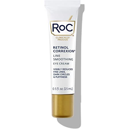 RoC Retinol Correxion Line Smoothing Anti-Aging Retinol Eye Cream for Dark Circles and Puffy Eyes, 0.5 Ounce (Packaging May Vary)
