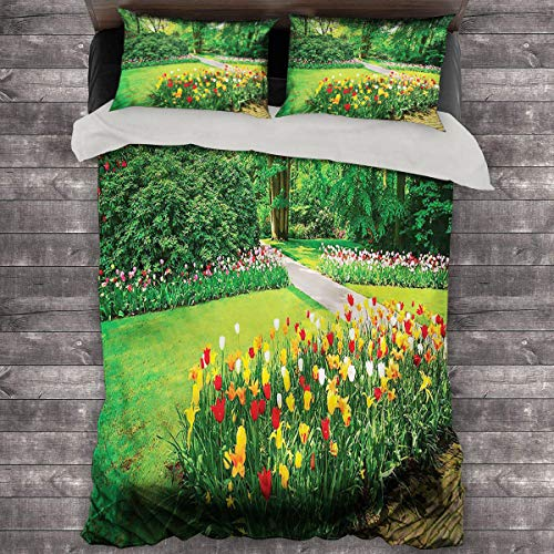 LanQiao Garden Medium Double Duvet Cover Garden with Tulips Trees. 89'x89' inch King Duvet Set