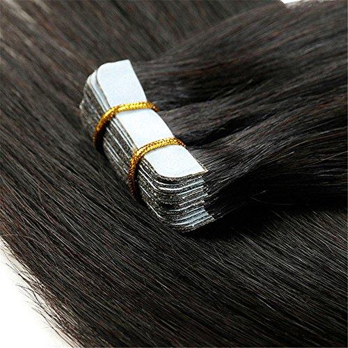 Tape Extensions Echthaar Schwarz #01 Haarverlängerung Echthaar 40 Tressen 100g Glatt (20zoll-50cm)