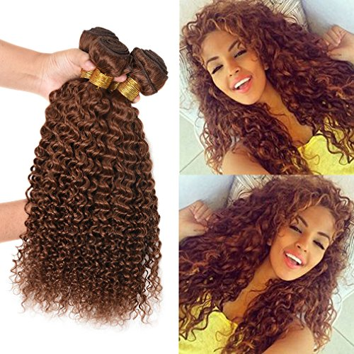 WOME Peruvian Curly Hair Weft Bundles Jerry Curly 100% Human Curly Virgin Hair Weaves Unprocessed Remy Hair Extensions For Black Women Light Auburn 30 color(300g/3bundle,12 14 16inch)
