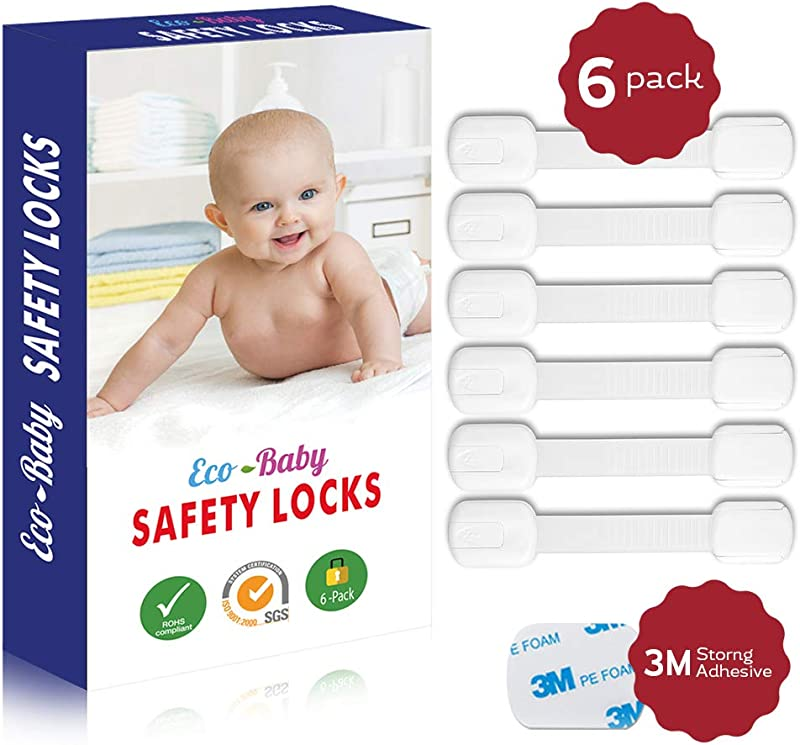 Child Safety Strap Locks 6 Pack For Fridge Cabinets Drawers Dishwasher Toilet 3M Adhesive No Drilling By Eco Baby