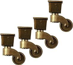 4 stks vierkant-cup meubelwielen, ouderwetse nylon zwenkwiel, brons kleur, retro-stijl, 360 graden rotatie, mute (Size : 2...