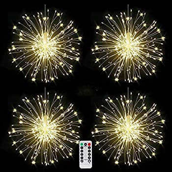 4 packs Firework Lights Copper Wire LED Lights 8 Modes Dimmable String Fairy Lights with Remote Control Waterproof Hanging Starburst Lights for Parties,Home,Christmas Outdoor Decoration