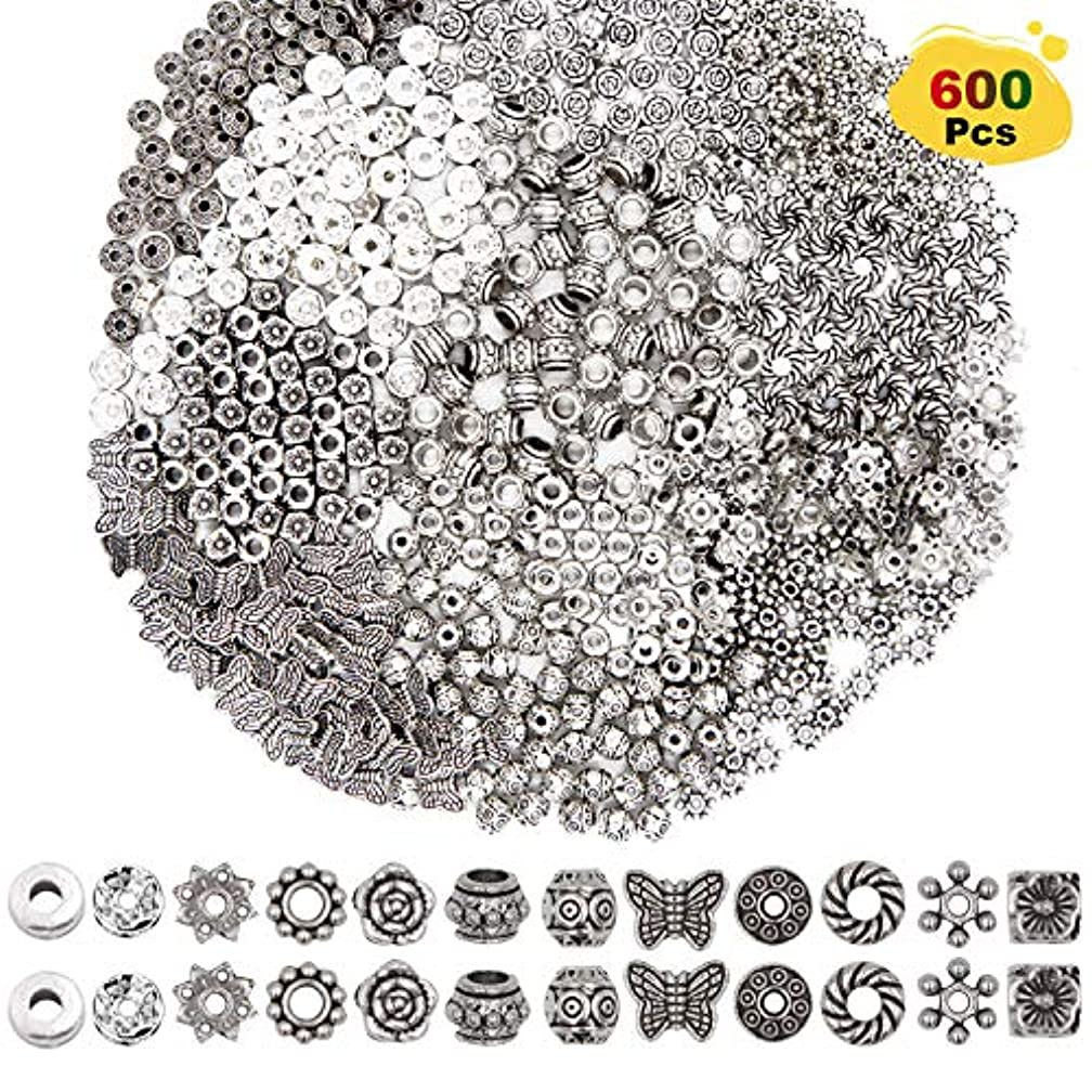 EuTengHao 600 Pcs 12 Style Silver Spacer Beads Jewelry Bead Charm Spacers Alloy Spacer Beads for Jewelry Making DIY Bracelets Necklace and Crafting Accessories Pendants