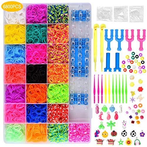 Queta Loom Bands Kits, 6800 Loom Bänder, Loom Gummibänder, Loom Gummibänder für Webstuhl, DIY handgestricktes Armband mit Perlen und Werkzeugen