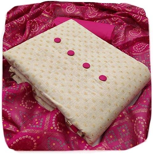 Women s Khadi Cotton Printed Unstitched Salwar Suit Dress Material Free Size