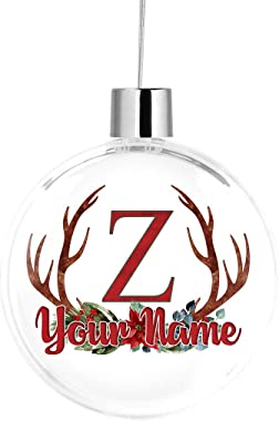 Bleu Reign BRGiftShop Personalized Custom Name Watercolor Christmas Antler Monogram Letter Z Large Round Ball Tree Ornament