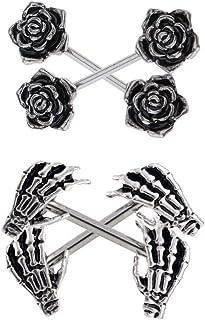 B Baosity 2 Paia di Acciaio Inossidabile Gotico Punk Fantasma Mano E Rosa Barbell Capezzolo Anello Scudo Piercing 14g