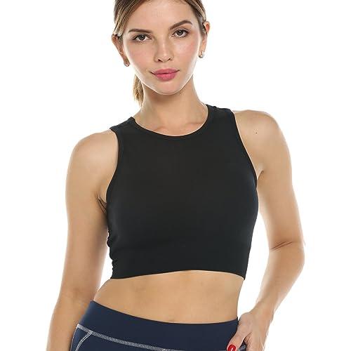 1fd6a9f57efb3 CROSS1946 Women s Mesh Strappy Sports Bra Yoga Bra Padded Running Jogging  Exercise Fitness Vest Gymwear