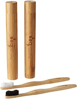 Hello Boo Bamboo Toothbrush Set with Travel Case | Pack of 2 Biodegradable Tooth Brush Set | Organic Eco-Friendly Moso Bamboo with Ergonomic Handles and Medium Nylon Bristles