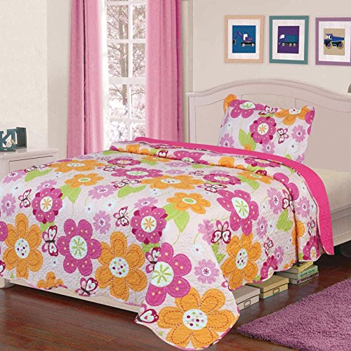 Sapphire Home 2pc Twin Size Reversible Bedspread Quilt Set Bedding for Kids Teens Girls, Hot Pink Orange Flower Butterfly Print Spring Style Coverlet, Twin Bedspread + Pillow Sham, Twin Spring Flower