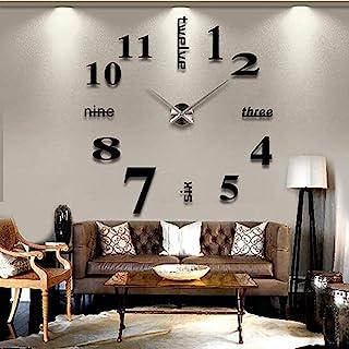 ساعة حائط من كوارتز، ثلاثية الابعاد، كبيرة وانيقة بنمط تركيب ذاتي، في شكل ملصق من الاكريليك - 015 اسود