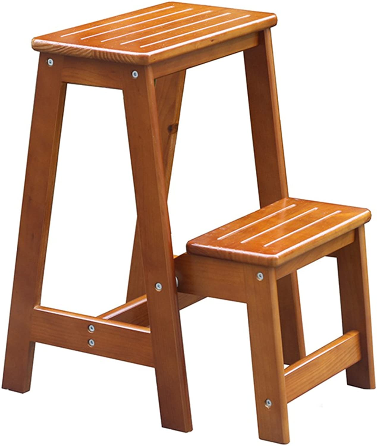 QTPL Dual-use Pine Wood Ladder Stool 2 Step Non-Slip Tread Step Stepladder Stool Changing shoes Stool Foldable Climb High Ladder Home Garden & Kitchen Tool Staircase Stool