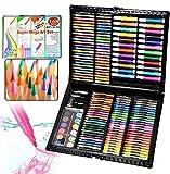 UISEBRT 168 TLG Malset für Kinder Buntstifte Zeichenset inkl Wachsmalstifte, Wasserfarben, Pastelle, Radierer, Ölpastell usw.