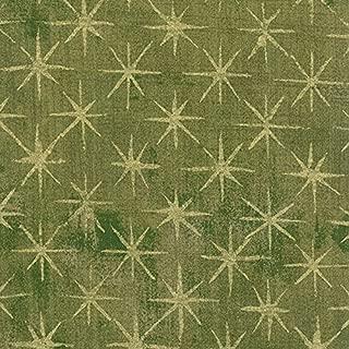 Grunge Seeing Stars Metallic/Light Green Cotton Fabric by Moda