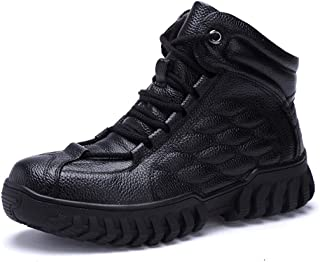 CHENDX Shoes, Classic Ankle Boots for Men Hiking Snow Boots Lace up Embossed Genuine Leather Round Toe Solid Color Platform Anti-Skid Fleece Inside (Color : Black, Size : 42 EU)