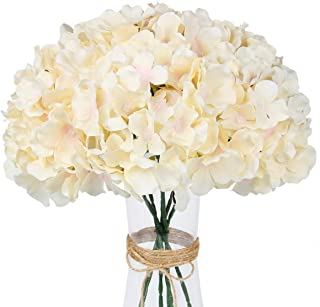 LuLuHouse Silk Hydrangea Heads with Stems Bulk Artificial Flower Heads DIY Wedding Centerpiece Home Party Baby Shower Deco...