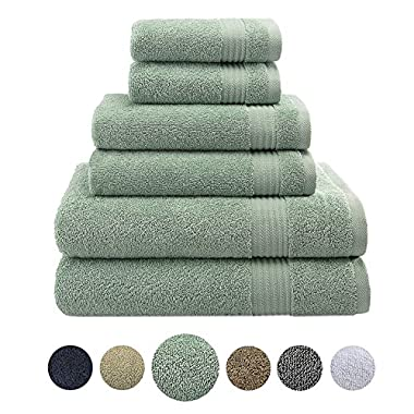 Hotel & Spa Quality, Absorbent and Soft Decorative Kitchen and Bathroom Sets, 100% Genuine Cotton, 6 Piece Turkish Towel Set, Includes 2 Bath Towels, 2 Hand Towels, 2 Washcloths, Cyan Green