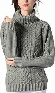 Women's Turtleneck Sweater Top Cable Knit Long Sleeve Pullover Jumper Knitwear