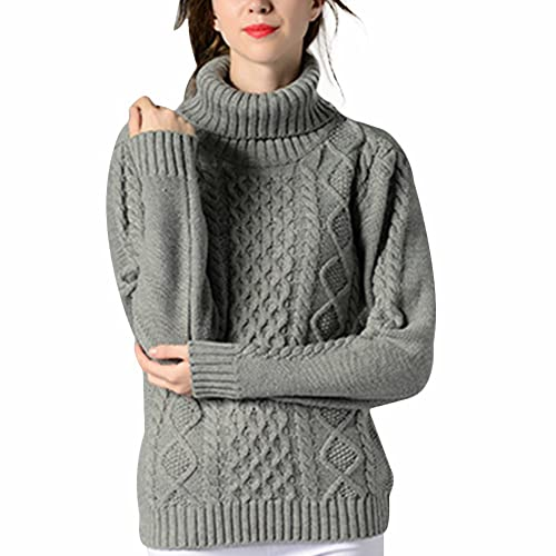 e4e1e068227e1c VERYCO Women Turtle Polo Neck Chunky Cable Knit Long Sleeve Pullover Jumper  Sweater Tops