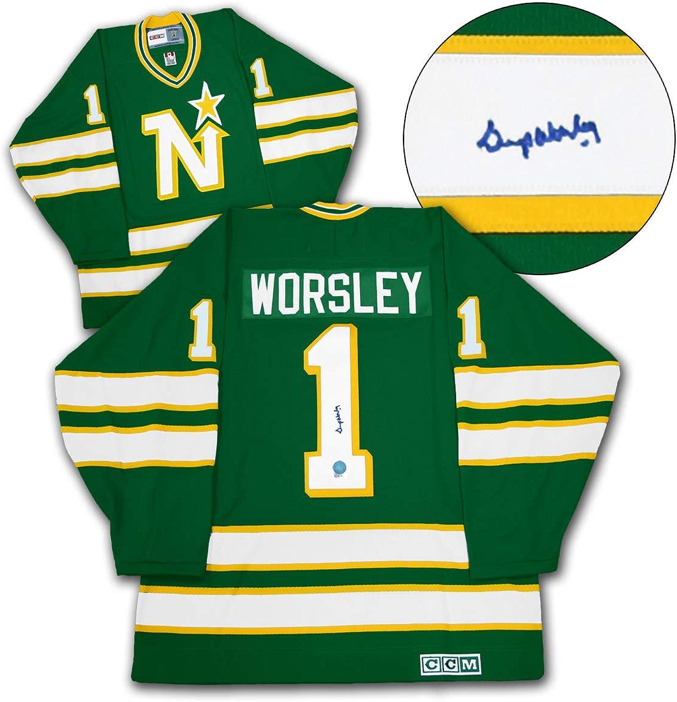 Gump Worsley Minnesota North Stars Autographed CCM Vintage Hockey Jersey