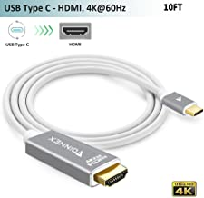 USB-C to HDMI Cable,(10FT,4K@60Hz),USB Type-C HDMI Adapter Cord (Thunderbolt 3) for iPad Pro 2018,MacBook Pro,iMac,Samsung Galaxy S9/S8/S10 Plus,Note 8/9,Chromebook,Dell XPS 15 to TV/Monitor