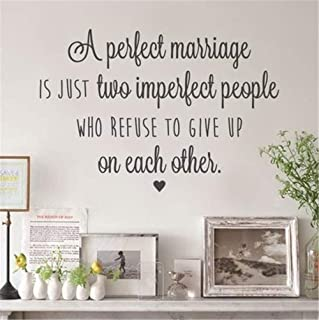 Kenden Vinyl Wall Art Inspirational Quotes and Saying Home Decor Decal Sticker A Perfect Marriage is Just Two Imperfect People Who Refuse to Give Up On Each Other