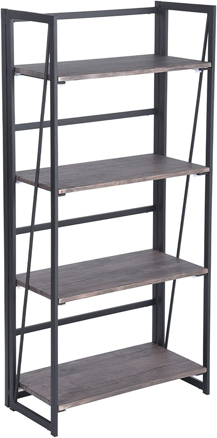 4-Shelf Industrial Bookcase Antique Folding Structure Industrial Metal and Wood Bookcase No Assemble