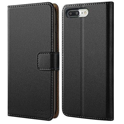 iPhone 7 Plus Hülle, iPhone 8 Plus Hülle, HOOMIL Handyhülle iPhone 7 Plus Tasche Leder Flip Hülle Brieftasche Etui Schutzhülle für Apple iPhone 7 Plus / iPhone 8 Plus Cover (5,5 Zoll) - Schwarz