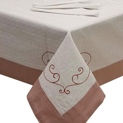 Service de table rectangulaire Bordure de 12en coton brodé CIPRIA