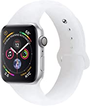 Sport Band Compatible with Apple Watch Band, Premium Sport Durable Soft Silicone Bracelet Wrist Strap Replacement Band for Series 4 3 2 1 (38MM/40MM S/M Transparent Matte White)