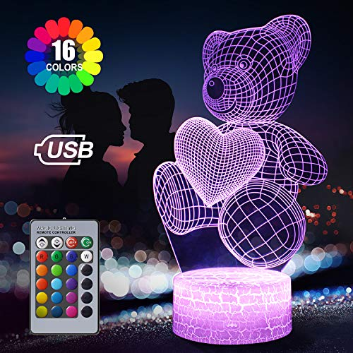 Veilleuse 3D Teddy Bear, Teddy Bear Gift, Lampe de Nuit 16 Couleurs avec Charge USB Tactile