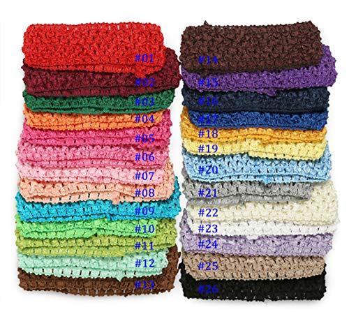 Qandsweet Baby Girl's Stretch Headbands Crochet Hair Bands (26 Colors)