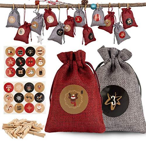 QILICZ 24 Adventskalender zum Befüllen Jutesäckchen/Jute-Sack,1-24 Adventszahlen Aufkleber und Holz Klammer, Weihnachten Geschenksäckchen, Adventskalender 2020, Weihnachtskalender Bastelset