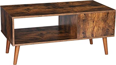 KingSo Retro Coffee Table Mid Century Modern Coffee Table with Storage Shelf for Living Room Vintage Coffee Table Cocktail Table TV Table Sofa Table Easy Assembly Wood Look Furniture, Rustic Brown