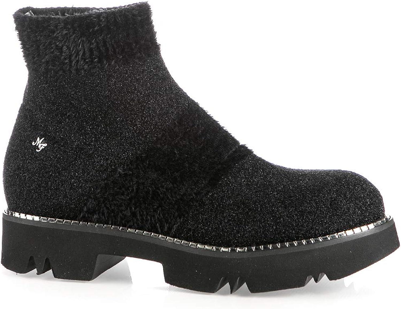 Marino Fabiani 6663 Black Stretch Suede Italian Designer Winter Women Bootie