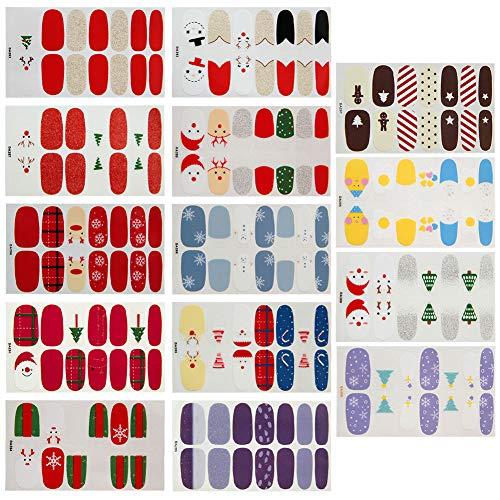Weihnachten Nagelaufkleber,Nagelsticker,Nagelkunst Sticker Selbstklebende Maniküre Sticker Schöne Mode DIY Dekoration 14 Blatt (196pcs) Nagelsticker