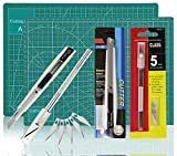 WEKOIL Green Self Healing Cutting Mat 5-ply Durable Double Sided Mat Set with Sharp Precision Cutters Non-Slip Rotary 9x12 inches Cutting Mat for Home Office Quilting Sewing Art Graphic Projects