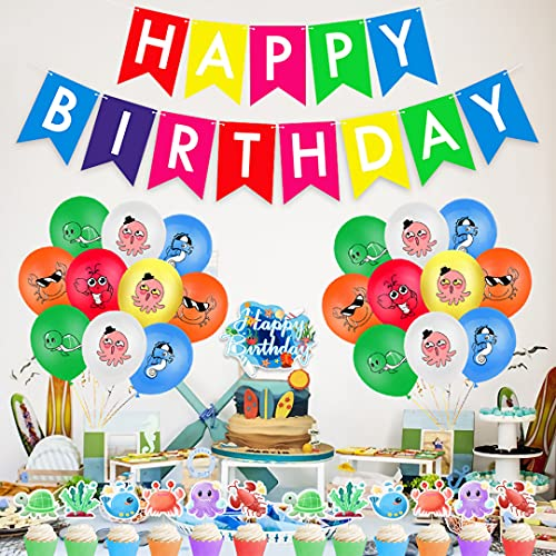 Noa 32 pieces ocean world birthday party decoration, sea animal balloons, birthday flag, cake decoration, cupcake topper, carnival party accessory set, turtle crab, children's birthday party