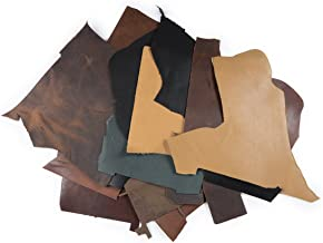 2lb Box of Top Grain Leather Remnants and Leather Scraps Form USA Raised Cows, 2 – 3 MM Thick (4.5-5.5 Ounces) Leather for Crafts in an Assortment of Earth Tone Colors
