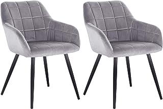 WOLTU Lot de 2 Chaises de Salle à Manger avec accoudoirs, Chaise de Salon Structure en métal et Assise en Velours,Gris BH9...