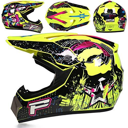 LDJ Casco de moto de motocross, casco de motocross, casco infantil para moto, MTB, ATV, Off-Road, juego de casco de protección con gafas y máscara, adecuado para niños y adultos (amarillo, S)