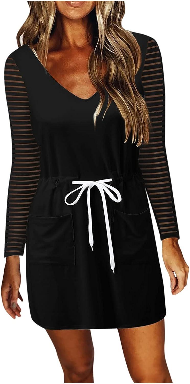 iQKA Women Long Sleeve V Neck Casual Mini Dress Waist Drawstring Short Dresses with Pockets Vestidos