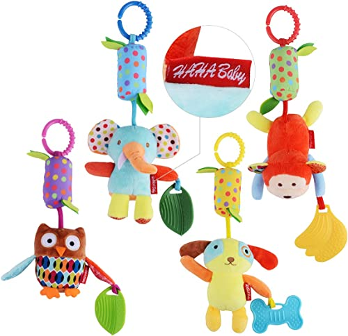 HAHA Baby Toys for 0 3 6 9 to 12 Months, Soft Hanging Crinkle Squeaky Sensory Learning Toy Infant Newborn Stroller Ca...