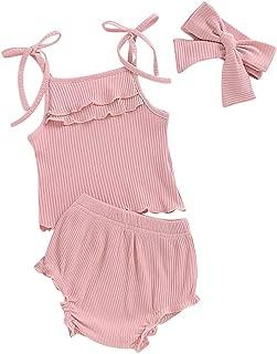 Cwemimifa Kind /Ärmellos-T-Shirt Shorts Set Kleinkind Kinder Baby M/ädchen /Ärmelloses Wassermelonendruck Sling Kleid Tops Feste Bow Shorts Kleidung Set