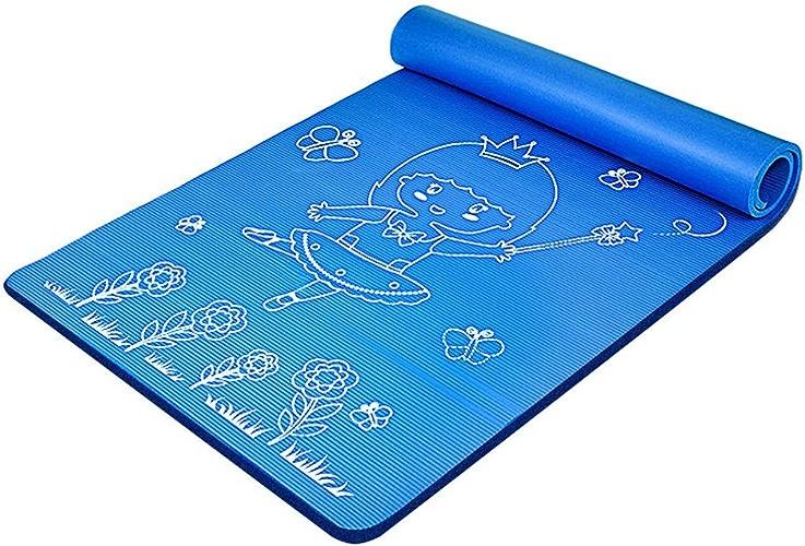 Débutant Tapis De Yoga élargissement Fille Allonger Couverture De Yoga épaissir Tapis d'exercice pour Enfant Tapis De Danse Sauter SPFOZ (Couleur   bleu, Taille   15mm)